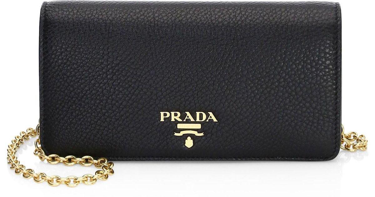 9ba0d8fa328ab1 Prada Women's Mini Bandoliera Leather Crossbody Bag - Black in Black - Lyst