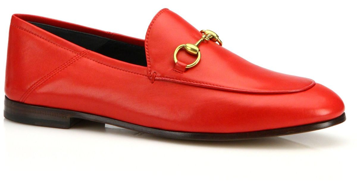 04ac261a6e0 Lyst - Gucci Brixton Leather Loafers in Red