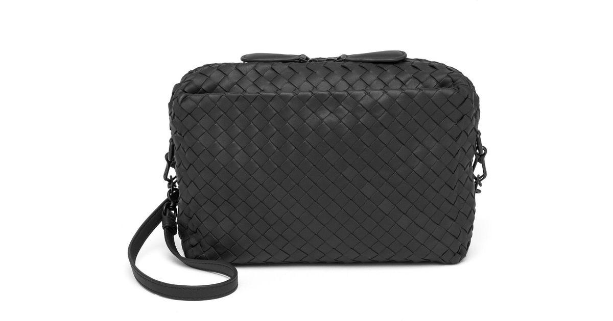 8cb8e70dcd Lyst - Bottega Veneta Pillow Intrecciato Leather Crossbody Bag in Black