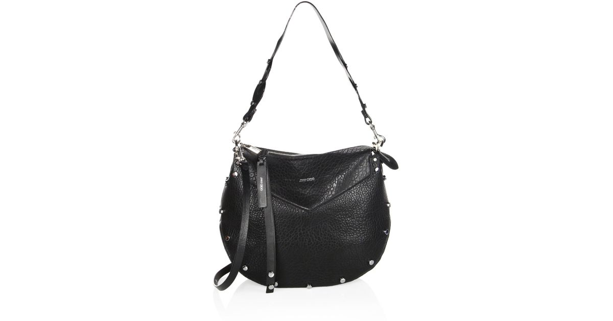 a81fe0e97a Jimmy Choo Artie Grainy Leather Shoulder Bag in Black - Lyst