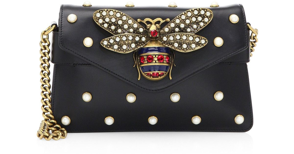aea4c79eaf59 Gucci Broadway Leather Mini Bag in Black - Lyst