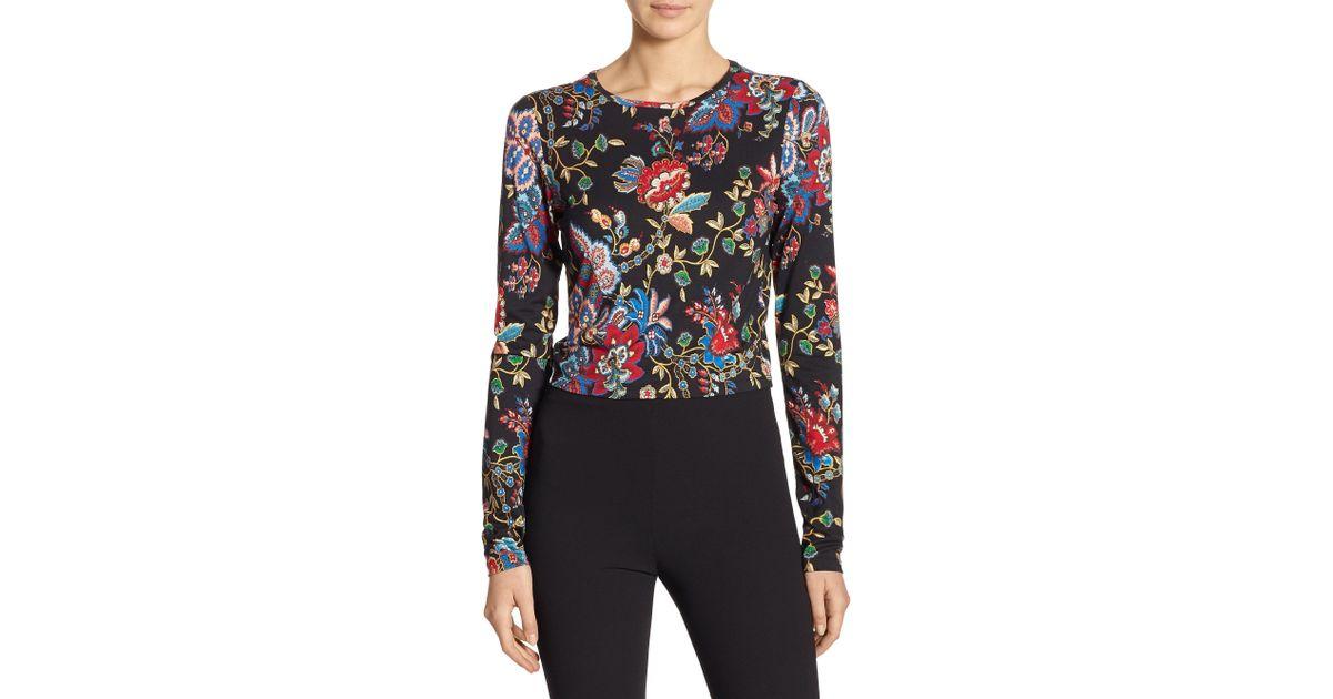 dba8b91015ee11 Lyst - Alice + Olivia Delaina Floral Crop Top