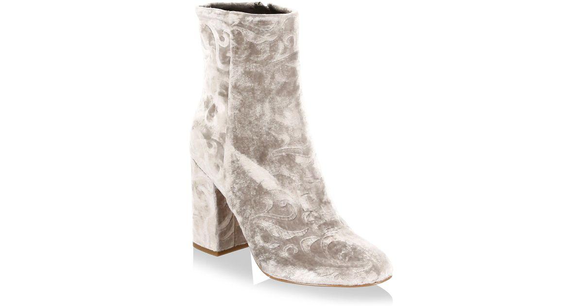 d98d634df0f Rebecca Minkoff Bryce Velvet Block Heel Booties in Natural - Lyst