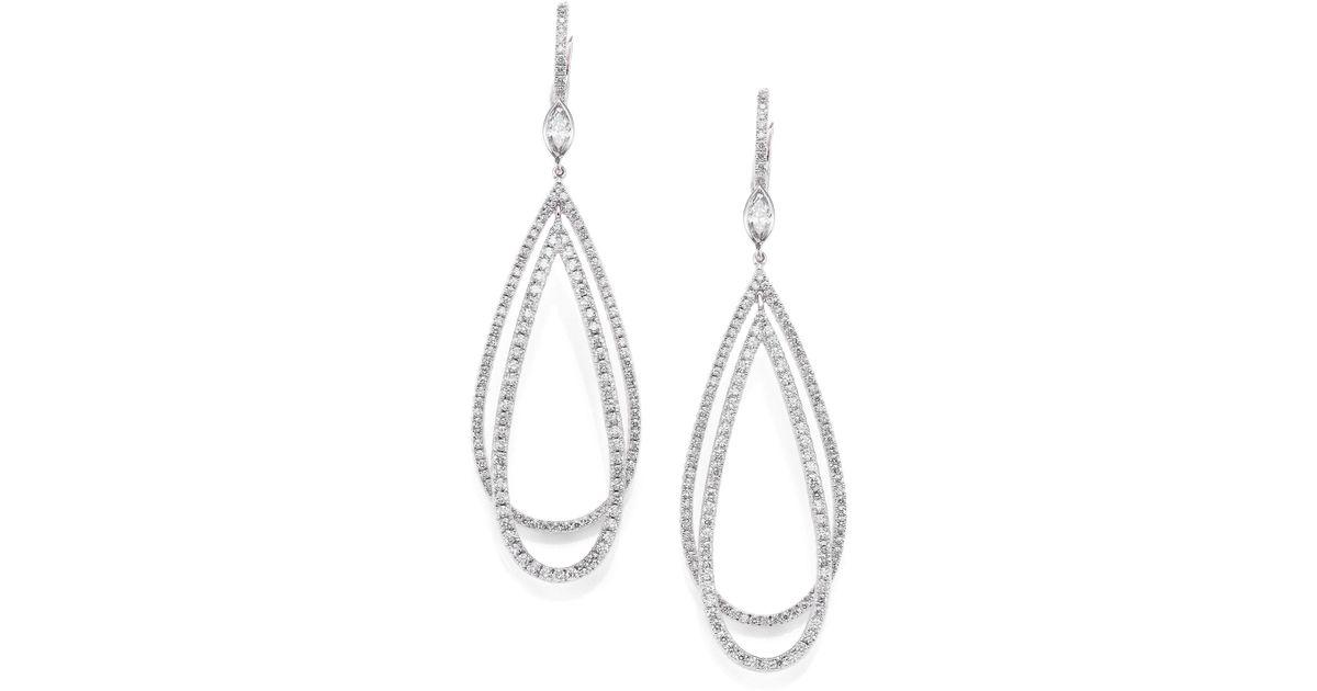 Kwiat Metallic Echo Diamond 18k White Gold Teardrop Earrings