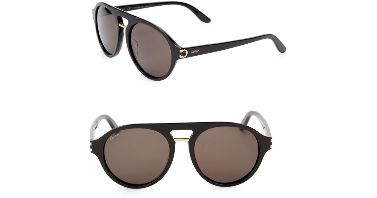 bac403c879cb1 Cartier 55mm Round Aviator Sunglasses in Black for Men - Lyst