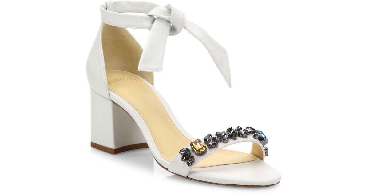 53219a370e2 Lyst - Alexandre Birman Clarita Jeweled Leather Block Heel Sandals in White