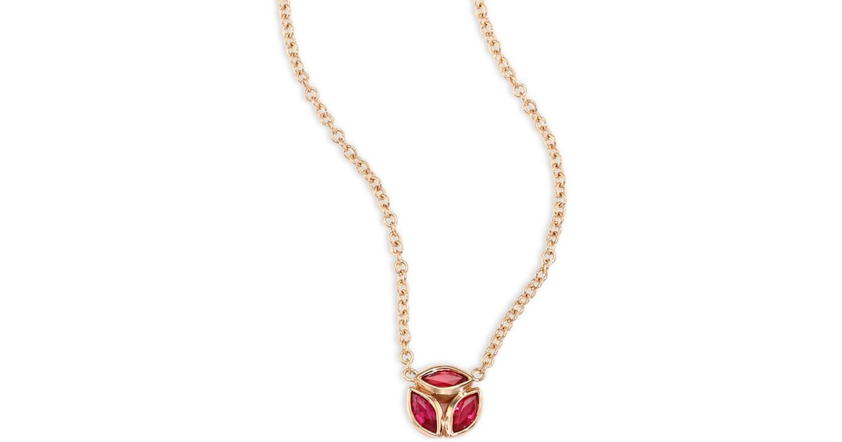 6bcc8d0117956 Melissa Kaye Metallic Hazel Ruby & 18k Pink Gold Pendant Necklace