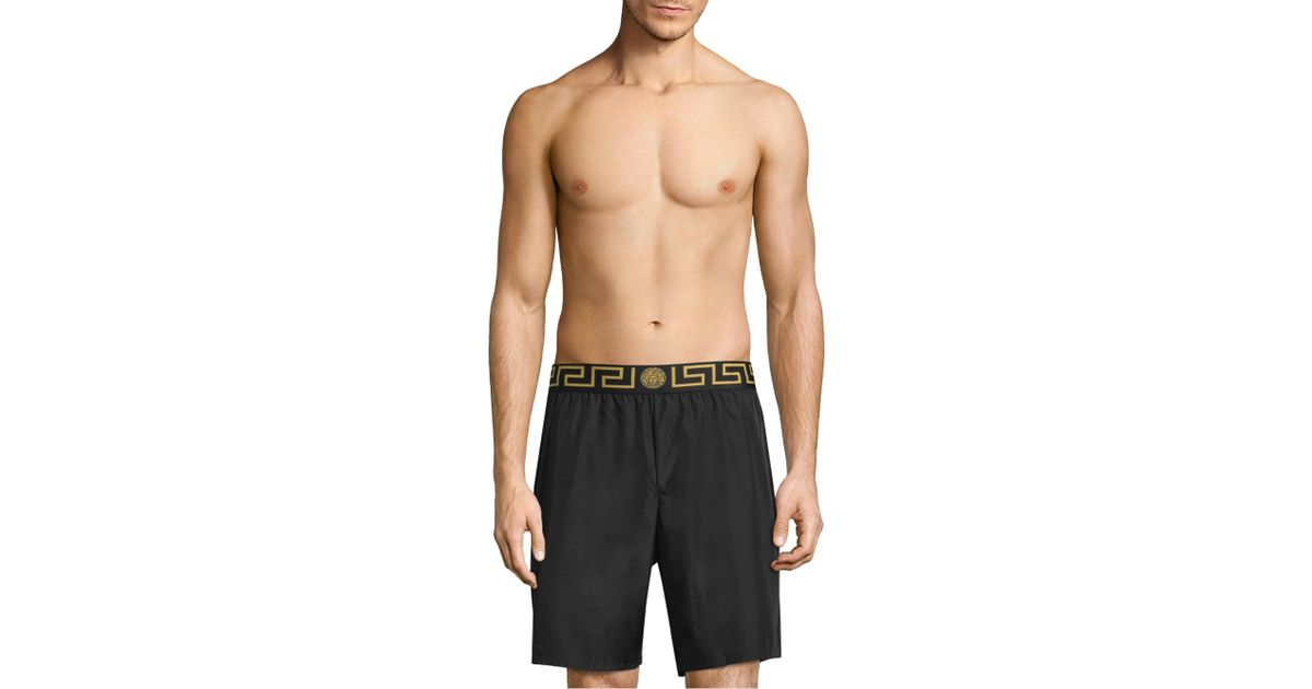 8784c2006e Versace Printed Signature Swim Trunks in Black for Men - Lyst