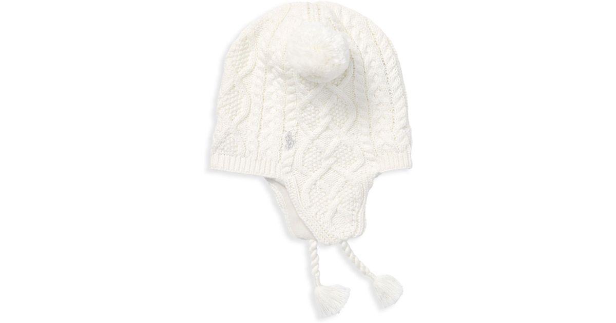 9cda64b2b19 Ralph Lauren Little Girl s Aran-knit Earflap Hat - Lyst