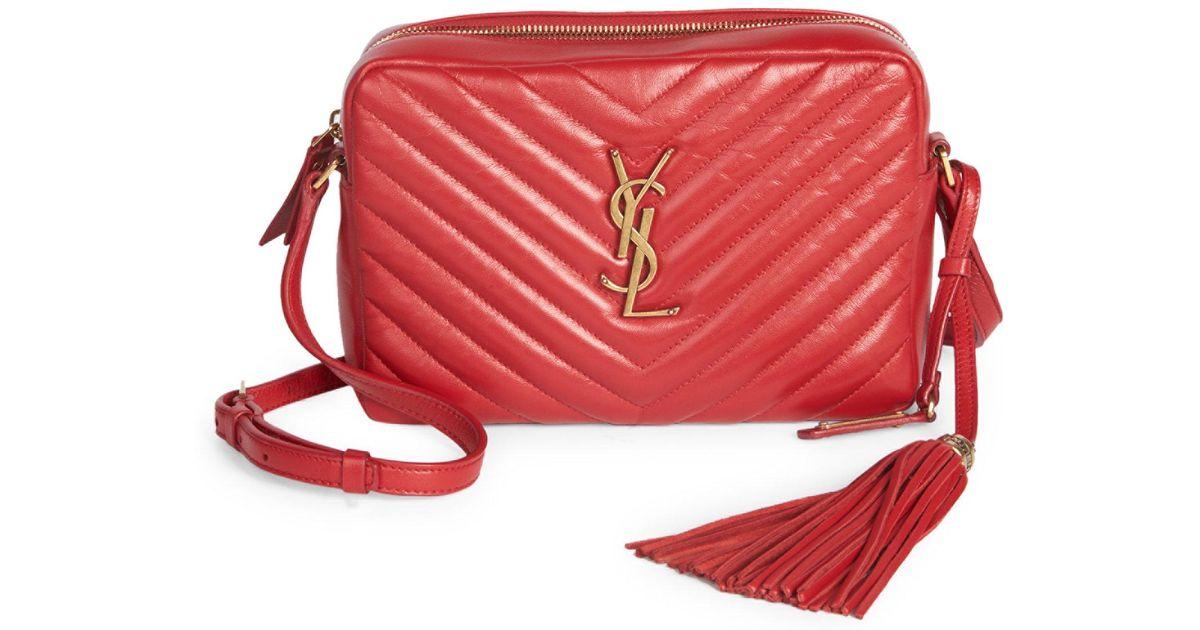 a1820b2dd56 Saint Laurent Small Lou Monogram Matelasse Leather Camera Bag in Red - Lyst