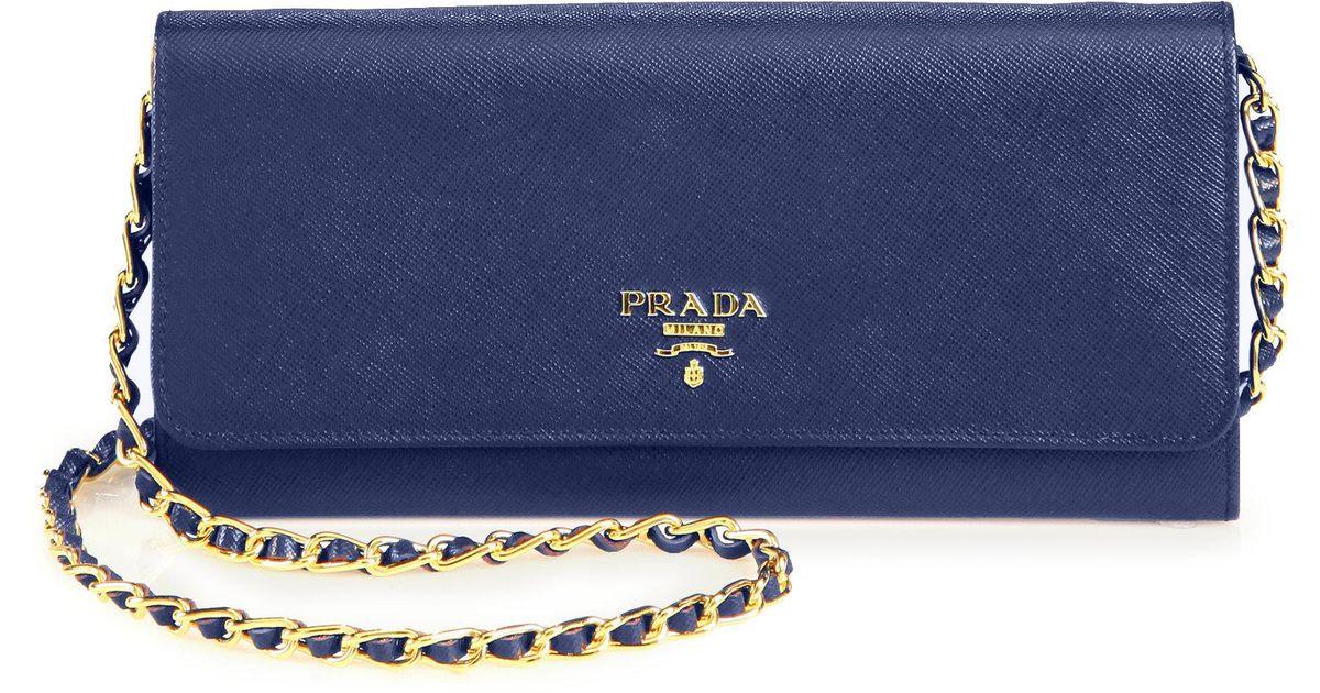988ec2c3452b Prada Saffiano Metal Oro Chain Wallet in Blue - Lyst