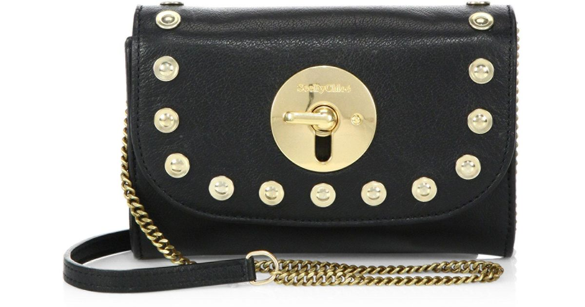 Lyst - See By Chloé Lois Mini Studded Leather Crossbody in Black fbdc878015821