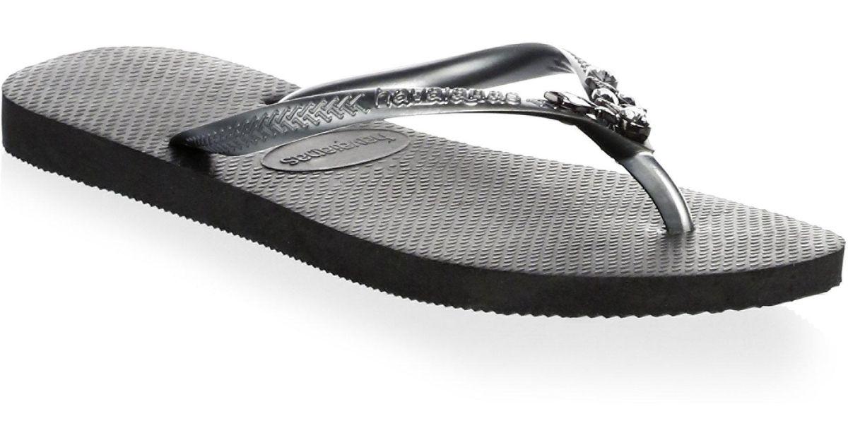 3dfd9ed3b Havaianas Women s Slim Lux Swarovski Crystal Flip Flops - Sand - Size 39-40  (9-10) in Black - Lyst