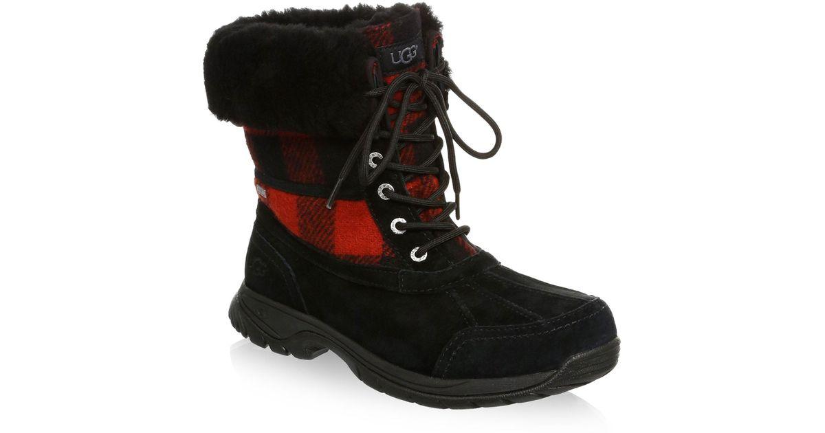 best service 38dda d3189 Ugg Black Butte Waterproof Buffalo Check Winter Boots
