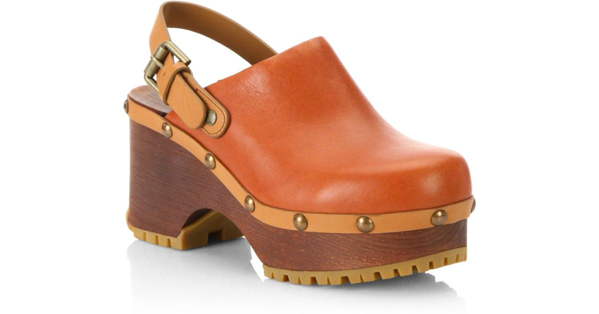 bcc1ae19f7 See By Chloé Natural Tasha Leather Clogs
