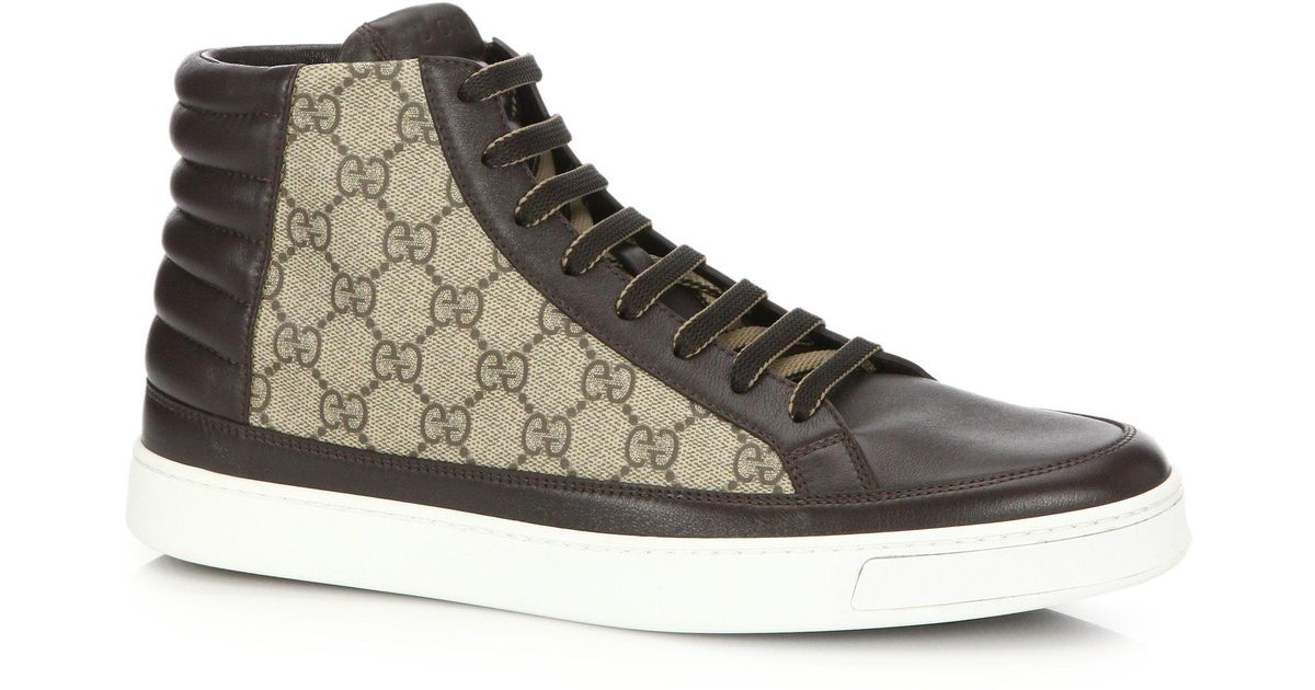880a776d1c204 Gucci GG Supreme High-top Sneakers in Brown for Men - Lyst