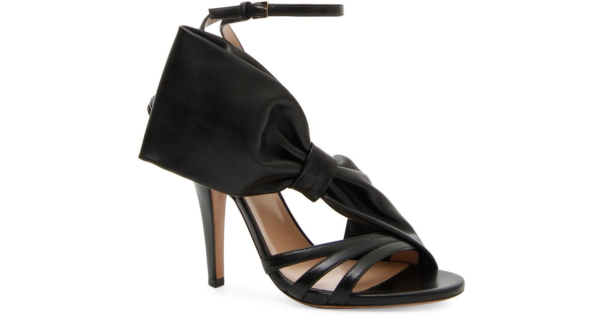 a1ee64b8d014 Lyst - Valentino Side Bow Sandals in Black