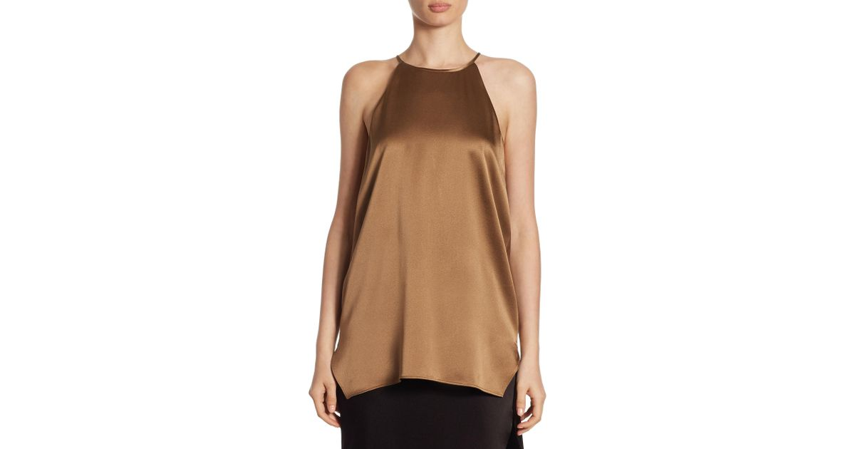 3d83ff4001ea3 Lyst - Halston Solid Strappy Tank Top in Brown