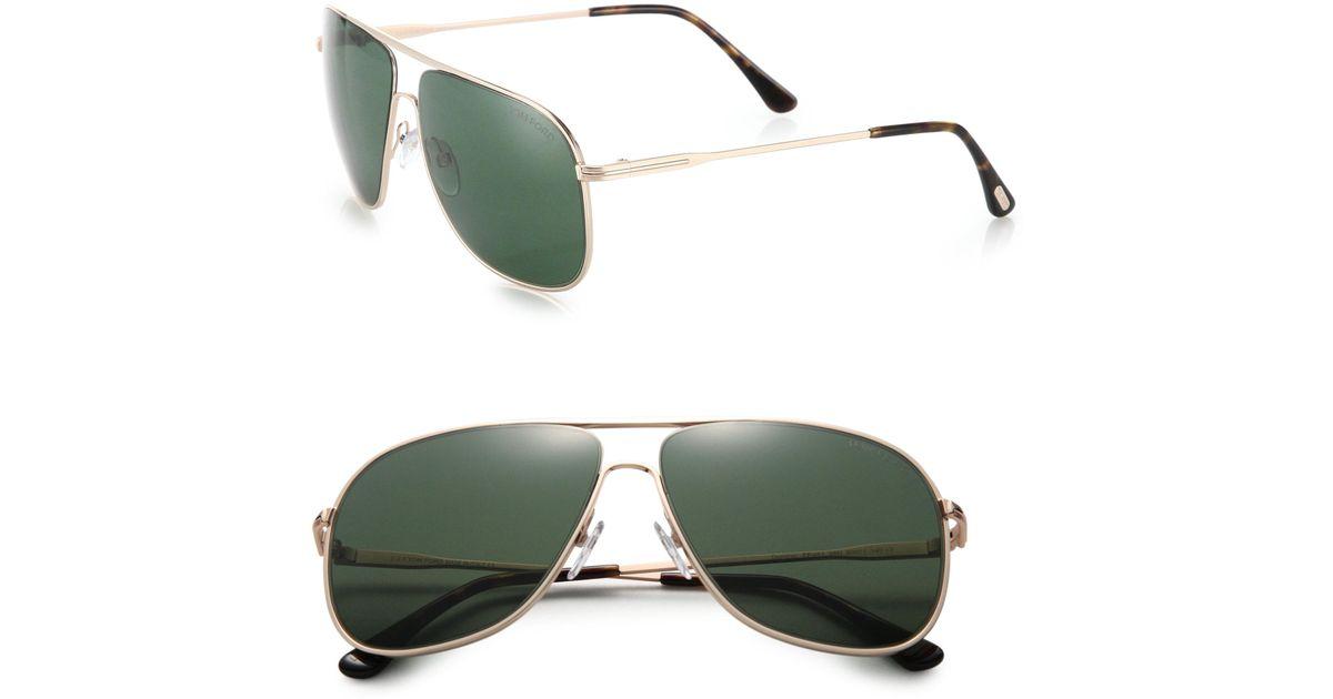 e76bf756a5d2 Lyst - Tom Ford Dominic 60mm Navigator Sunglasses in Green for Men