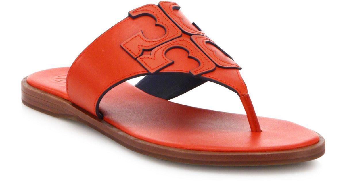 092da78d4791fc Lyst - Tory Burch Jamie Leather Logo Thong Sandals in Red