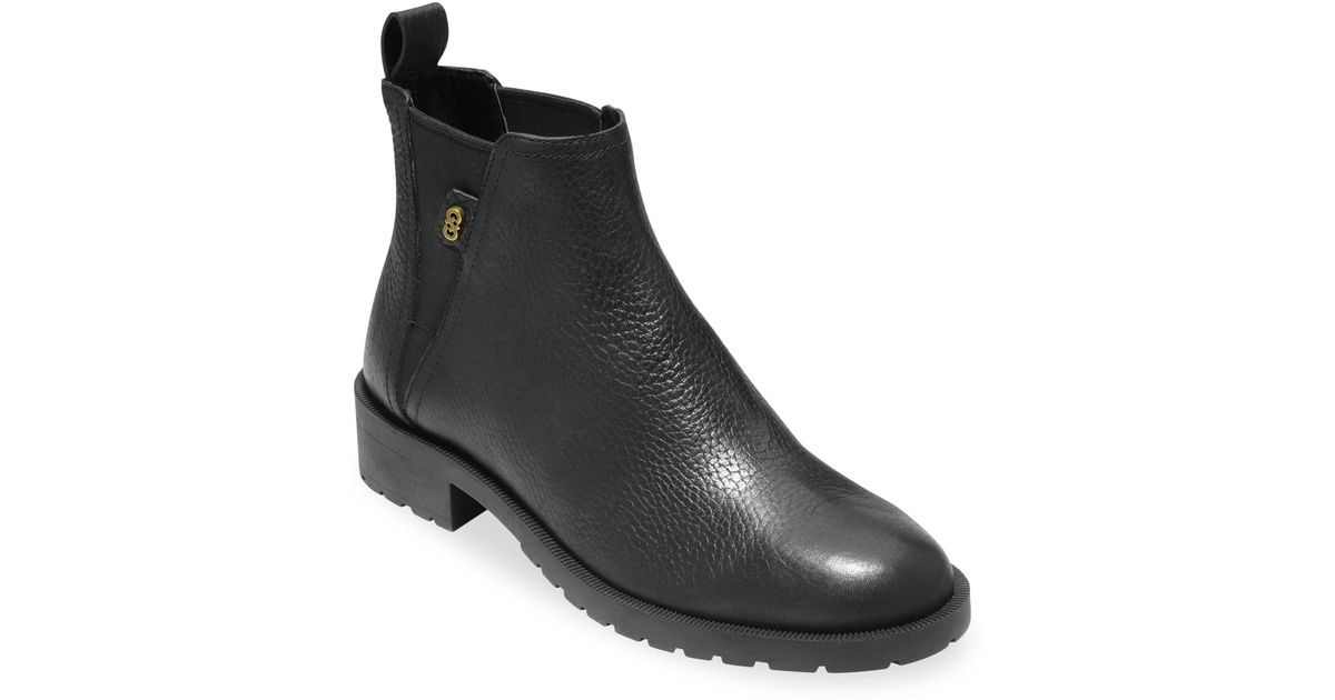 e610410a867 Cole Haan Black Grand Os Calandra Leather Ankle Boots