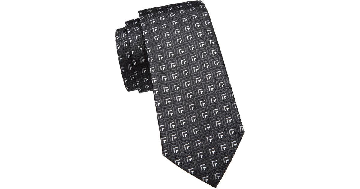 5dca7e177c11 Emporio Armani Medallion Silk Tie in Gray for Men - Lyst