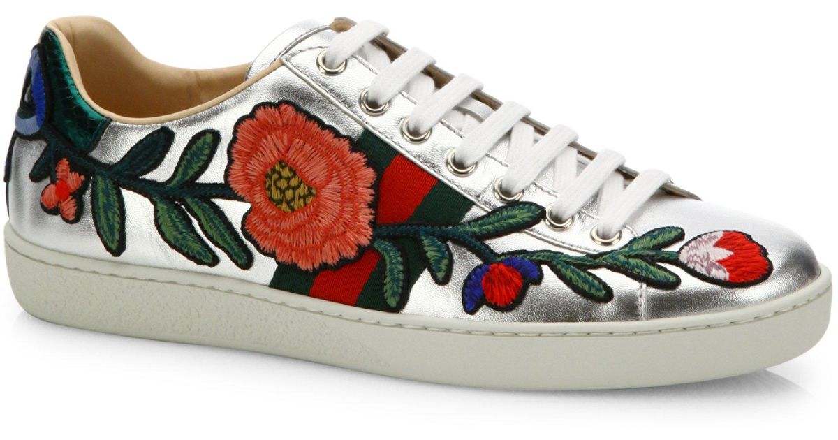 bfa13a08c2f Lyst - Gucci New Ace Floral-embroidered Metallic Leather Sneakers in  Metallic