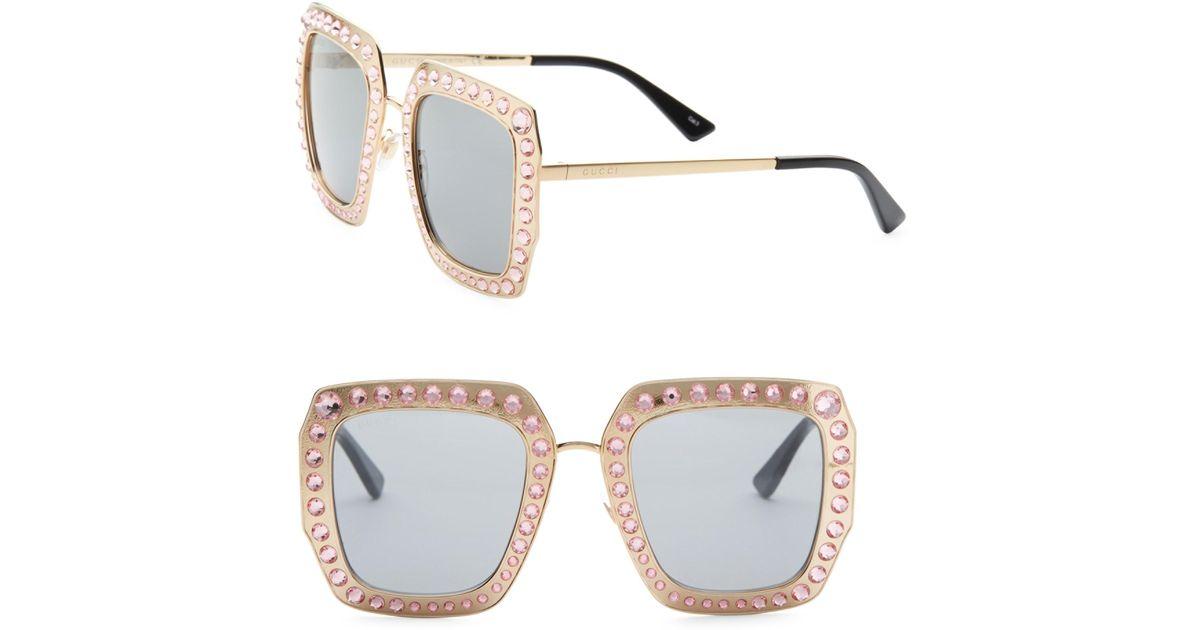 763b709fb Lyst - Gucci 52mm Crystal-studded Square Sunglasses in Metallic