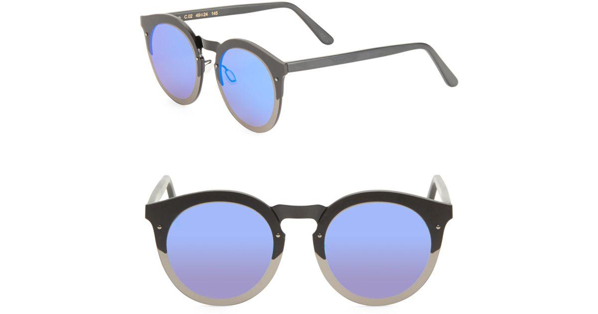 Kết quả hình ảnh cho Illesteva Palermo 49mm Matte Round Mirrored Sunglasses