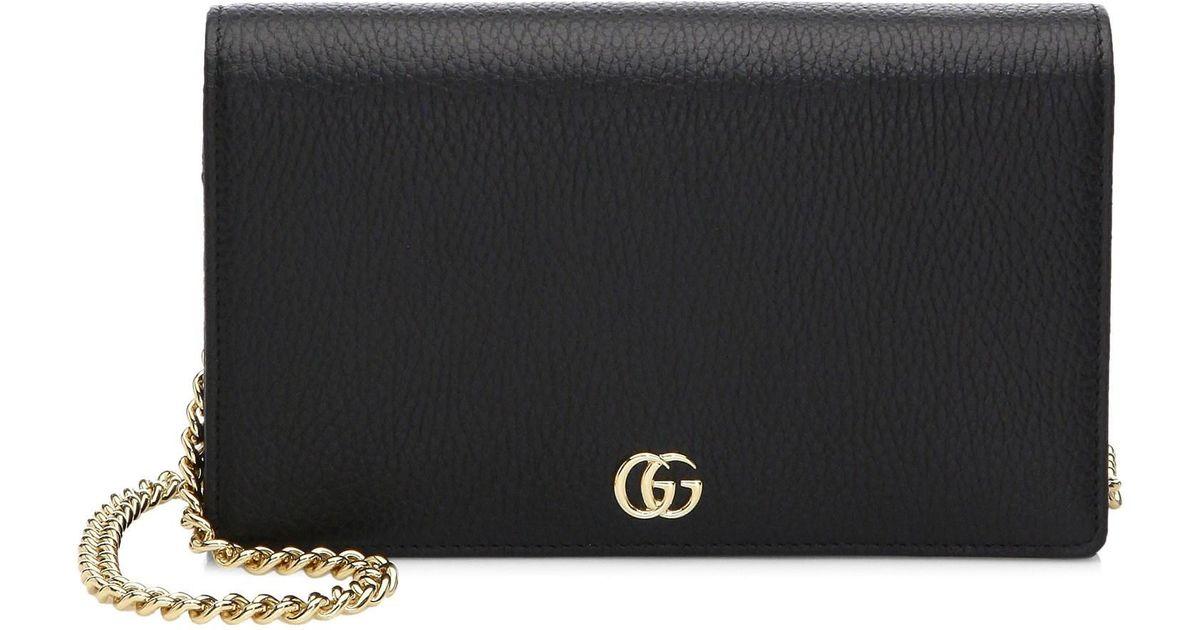 815cc1695e19 Lyst - Gucci Women s Petite Marmont Wallet On Chain - Black in Black