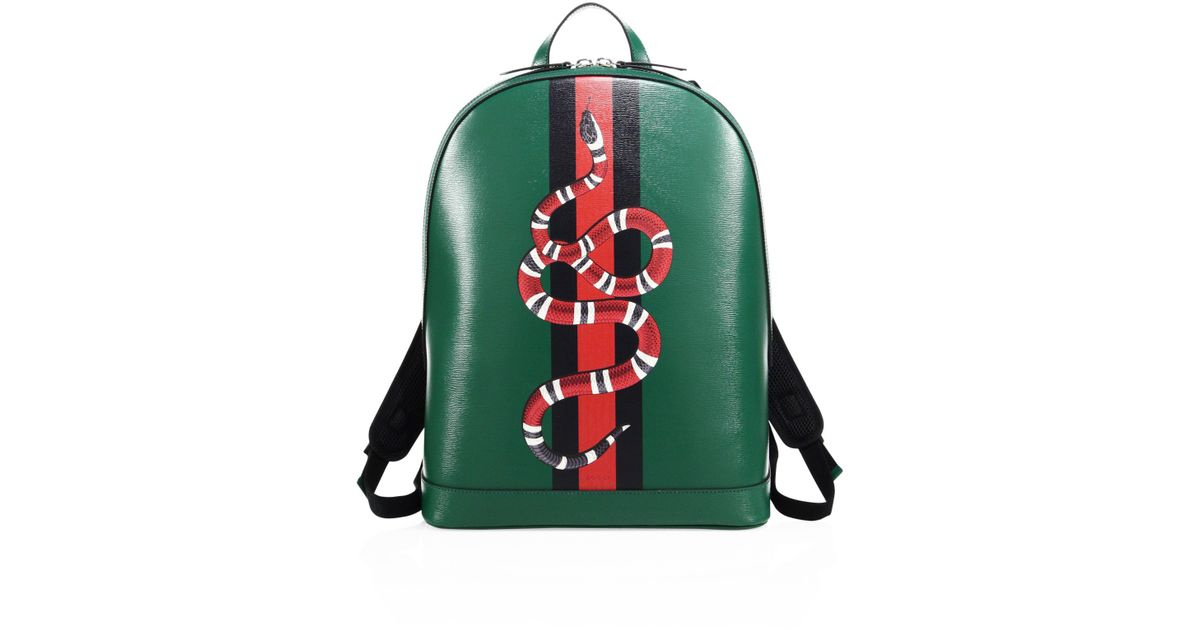 42f3792ac97c Gucci Snake Printed Leather Backpack in Green for Men - Lyst