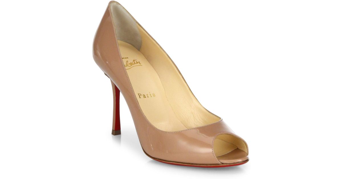 286f756286 Christian Louboutin Yootish 85 Patent Leather Peep Toe Pumps in Natural -  Lyst