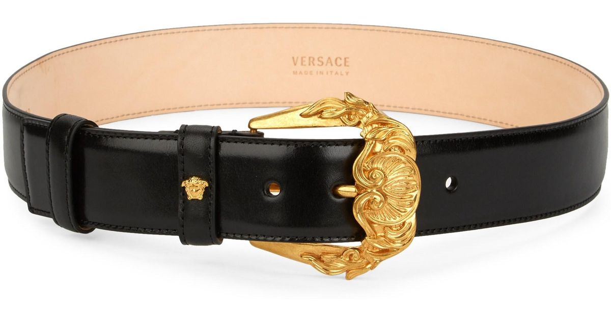 fdbf007e7 Versace Barocco Buckle Leather Belt in Black - Lyst