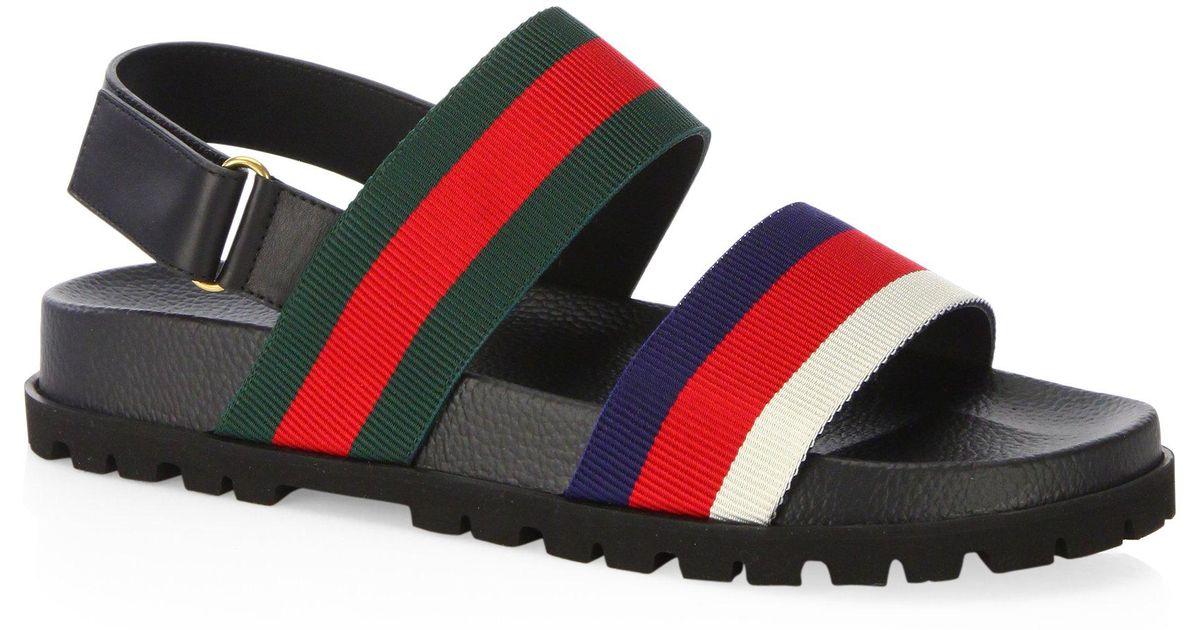 21a2a8de9daccf Gucci Rimini Leather Double Strap Sandals - Lyst