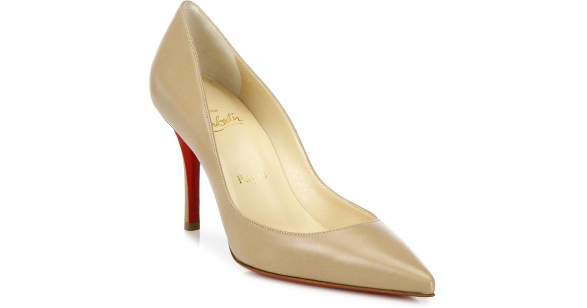 on sale 3bda9 566d1 Christian Louboutin Natural Apostrophy 85 Leather Point Toe Pumps
