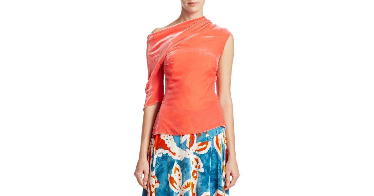1d94ae96138 Lyst - Peter Pilotto Velvet Off-the-shoulder Top - Save 12%