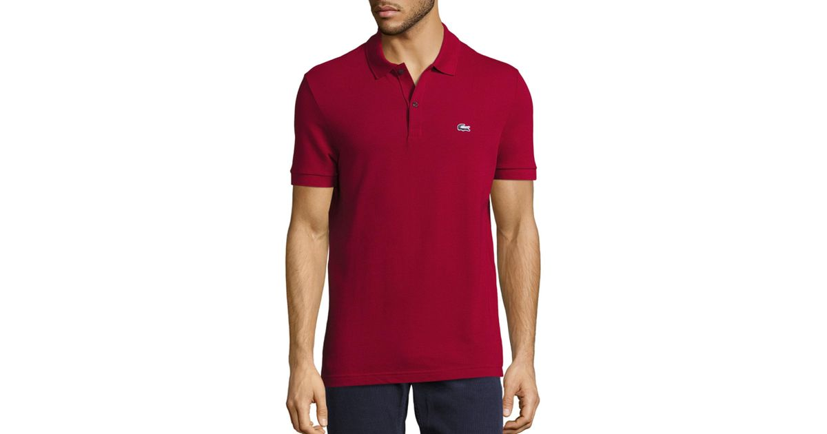 Lacoste Sleeve Tri Pique Color Croc For Short Polo Red Men 9IED2H