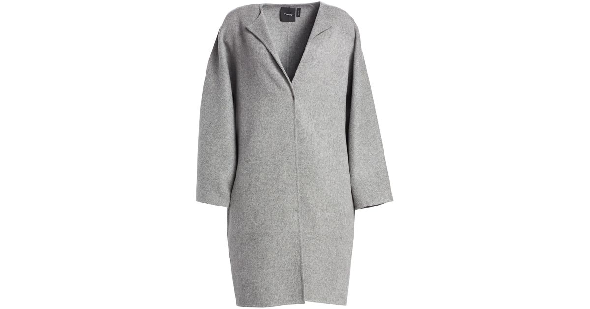 4e635c23461 Theory Women's Rounded Wool-blend Coat - Cosmic Blue in Gray - Lyst