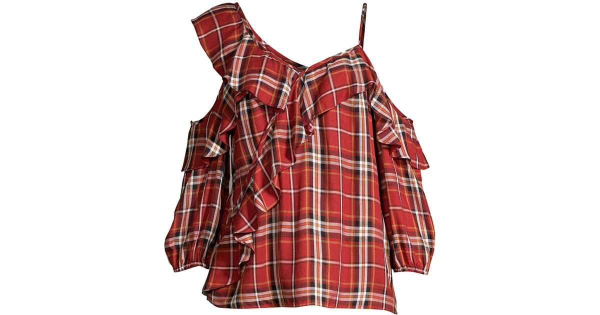 6cb389a088a27 Lyst - Bailey 44 Cross Country Plaid Cold-shoulder Top in Red