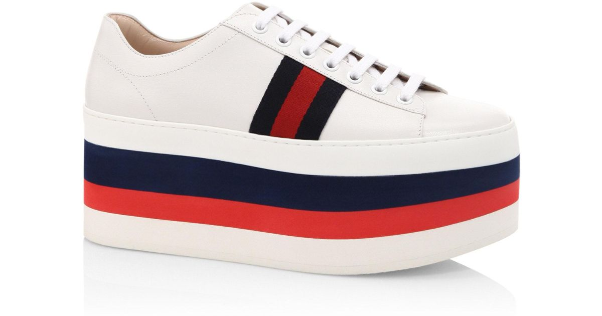 c9bc6919cb88 Lyst - Gucci Peggy Leather Rainbow Platform Sneakers in White