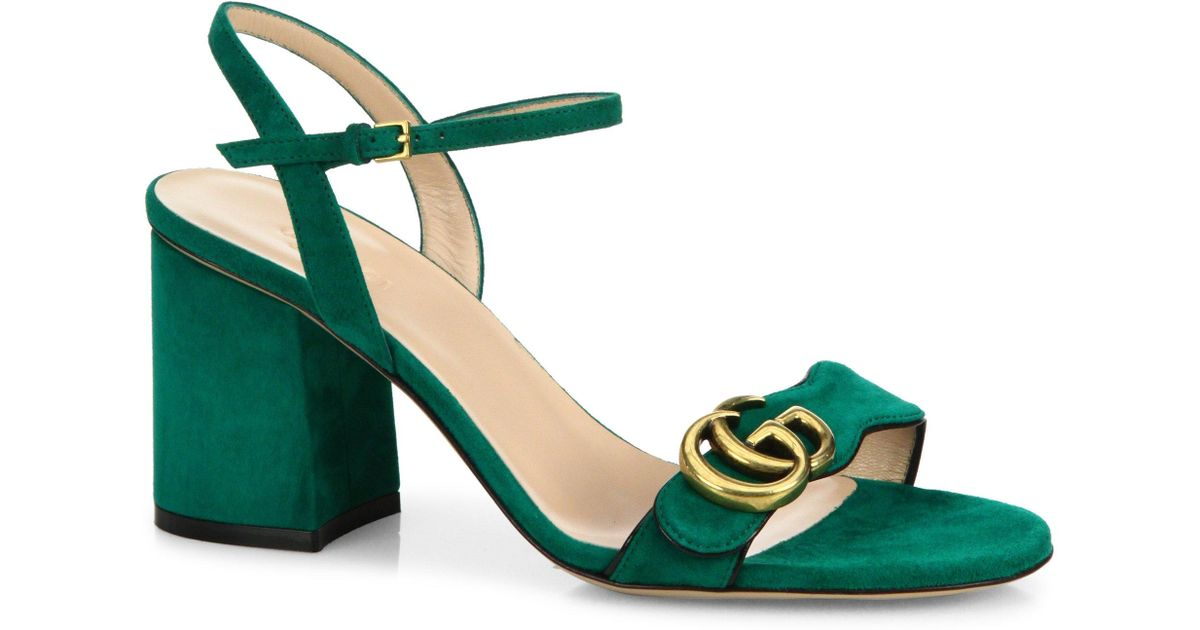 5a35d0ac2627 Lyst - Gucci Marmont Suede Block Heel Sandals in Green