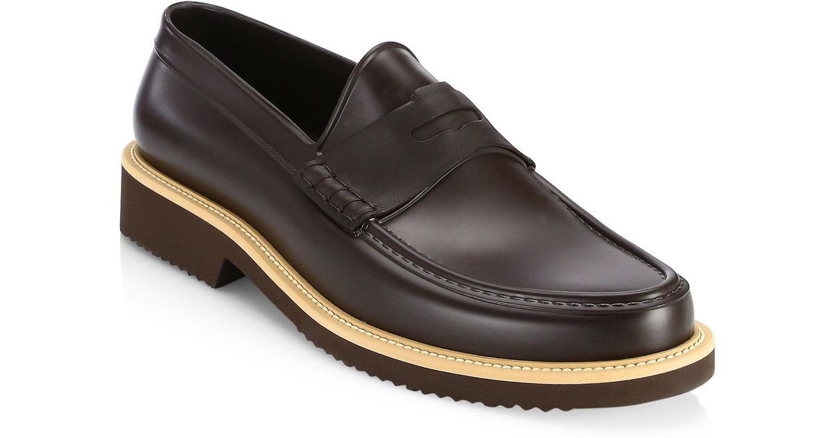 Saks Fifth Avenue COLLECTION Contrast Sole All-Weather Rubber Penny Loafer fRsTA