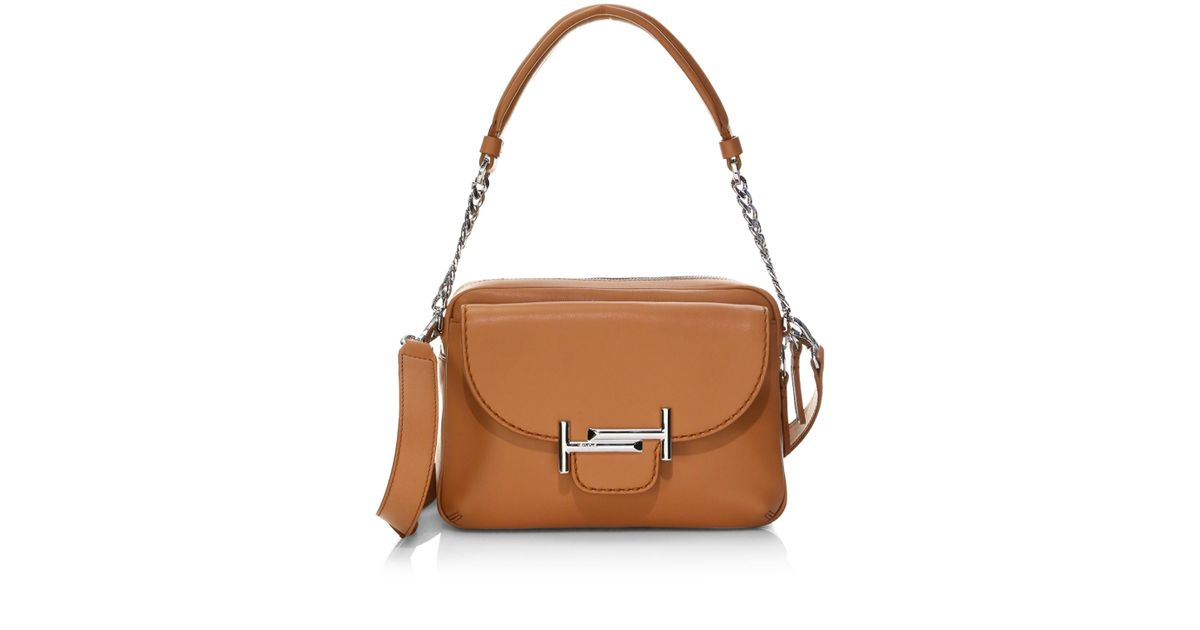 b89a01d6ac1 Tod's Double T Leather Camera Bag in Brown - Lyst
