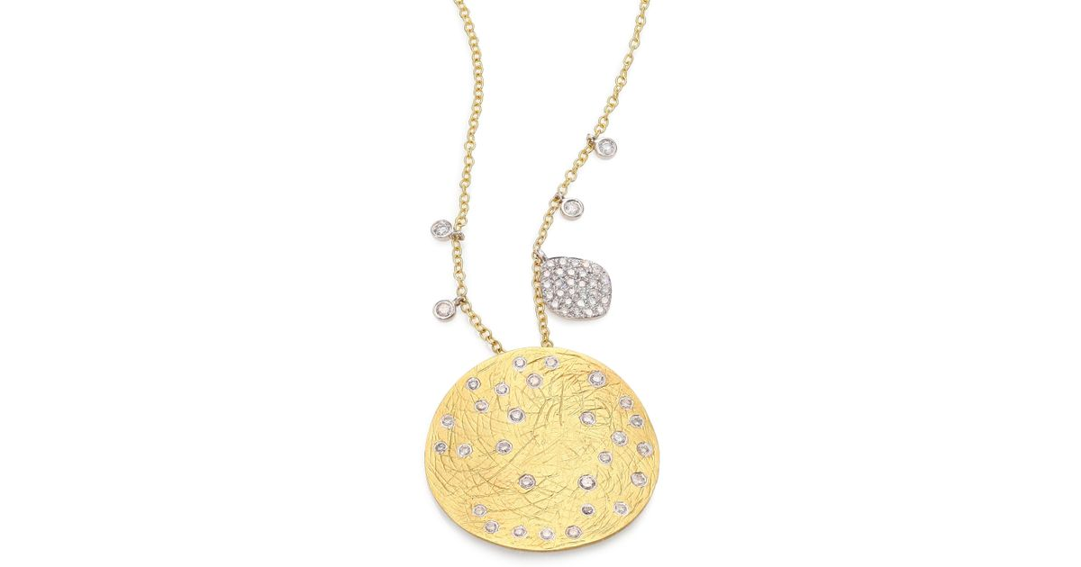 Lyst meira t diamond 14k yellow white gold disc pendant lyst meira t diamond 14k yellow white gold disc pendant necklace in metallic save 200 aloadofball Choice Image