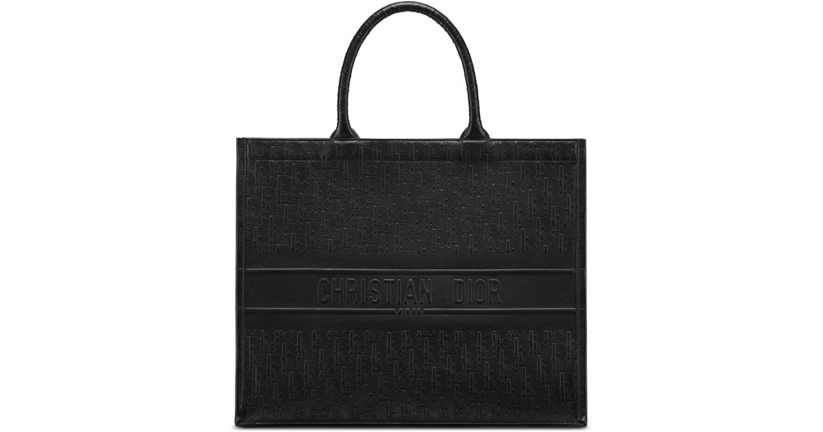 8120fe9a33a0 Lyst - Dior Oblique Embossed Leather Book Tote in Black