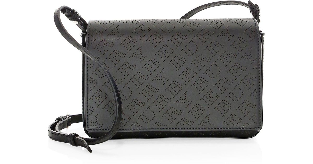 96a53d954666 Lyst - Burberry Hampshire Perforated Leather Crossbody in Black