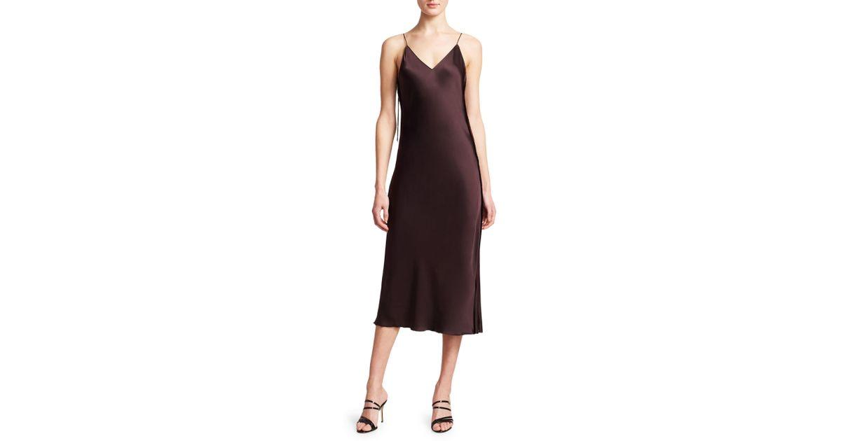 6096fb9d71bf Lyst - Helmut Lang Women's Raw Detail Satin Slip Dress - Lavender - Size 0  in Brown
