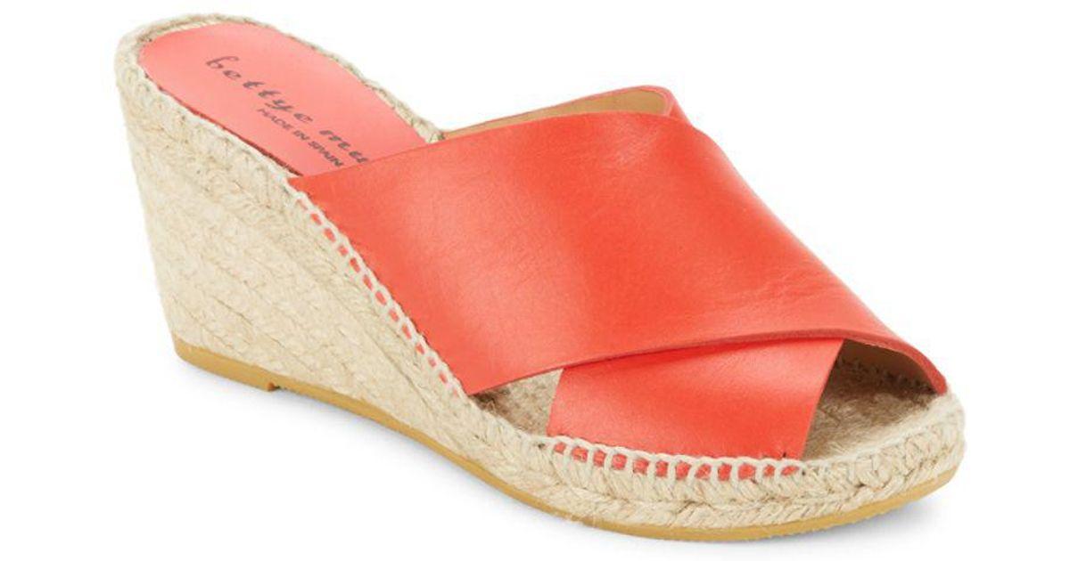 332b9176762 Lyst - Bettye Muller Dijon Leather Wedge Espadrille Mule Sandals in Red