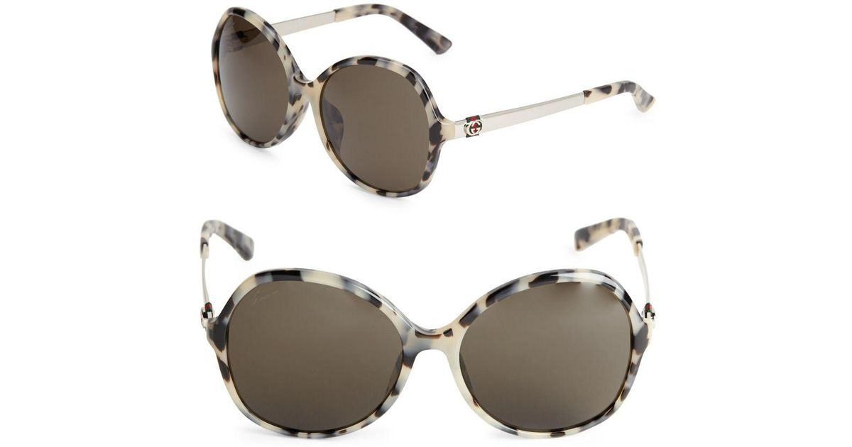 d0c6920b1b6 Lyst - Gucci 50mm Round Leopard Sunglasses in Metallic