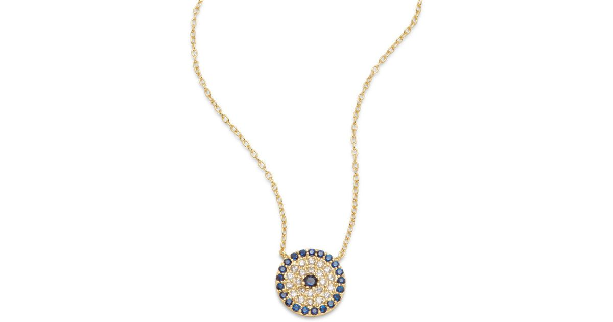 Lyst argento vivo cubic zirconia 18k gold plated sterling lyst argento vivo cubic zirconia 18k gold plated sterling silver pave disk pendant necklace in metallic aloadofball Images